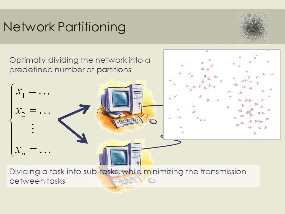 Network Partitioning Optimally dividing the network into a predefined number of partitions Dividing a task into sub-tasks, while minimizing the transmission between tasks
