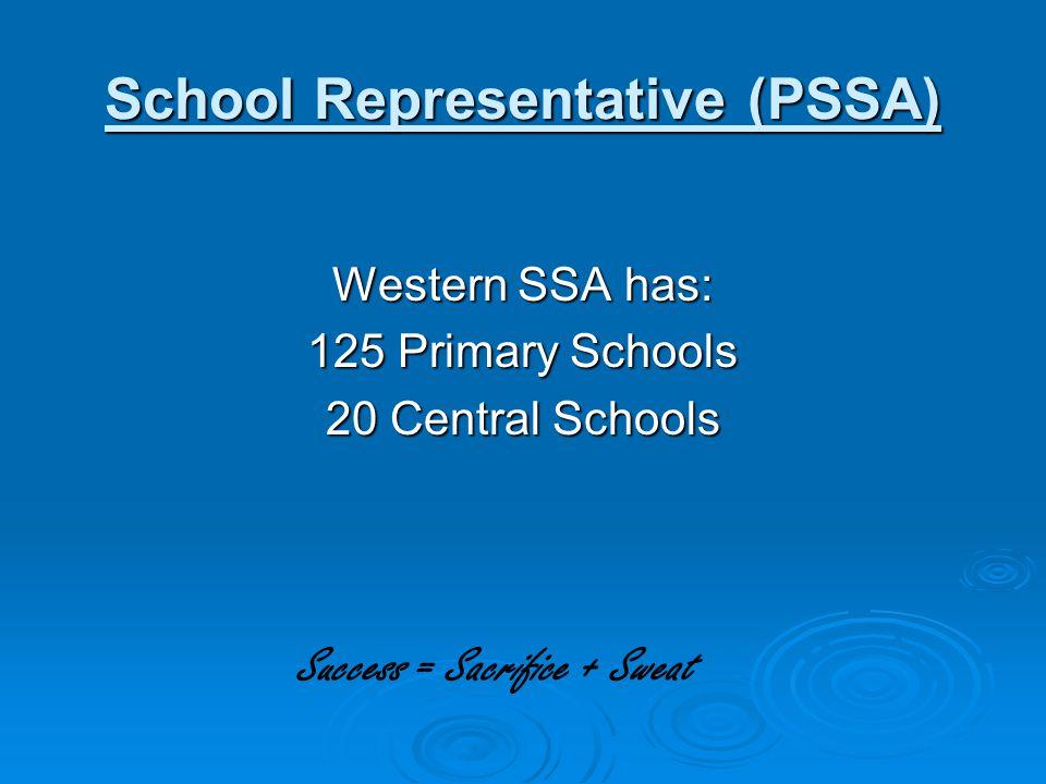 Secretary: Carla Pittman (02) 6841 3867 Council: WSSA Executive (President, 4 x Vice Presidents, 3 x Principals Reps, Directors Rep, Treasurer, Knockout Convener, Exec.