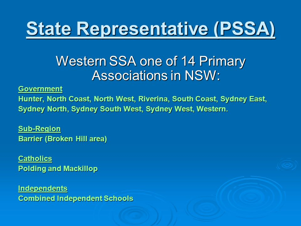 Role of the Western Sports Convener Conduct Regional trials for selection of WSSA team Conduct Regional trials for selection of WSSA team Accompany WSSA team to state carnival / championship Accompany WSSA team to state carnival / championship Submit report on return Submit report on return Initiate award nomination(s) for their sport Initiate award nomination(s) for their sport Submit trials information (term 4) for the following year Submit trials information (term 4) for the following year