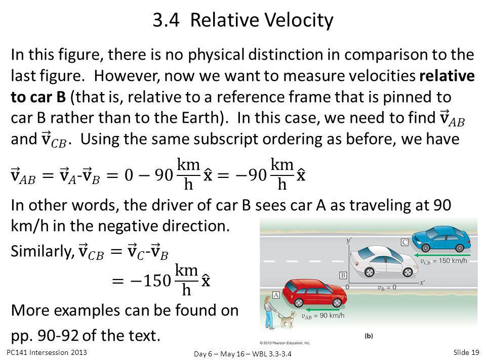 Day 6 – May 16 – WBL 3.3-3.4 3.4 Relative Velocity PC141 Intersession 2013Slide 19