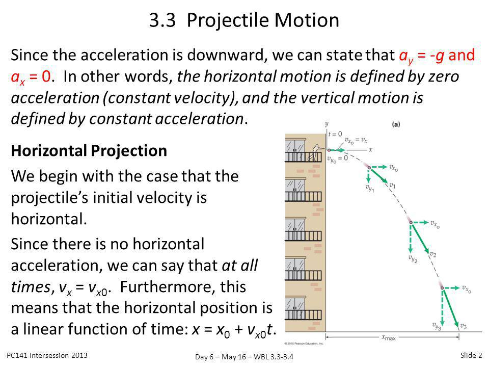 Day 6 – May 16 – WBL 3.3-3.4 Since the acceleration is downward, we can state that a y = -g and a x = 0. In other words, the horizontal motion is defi