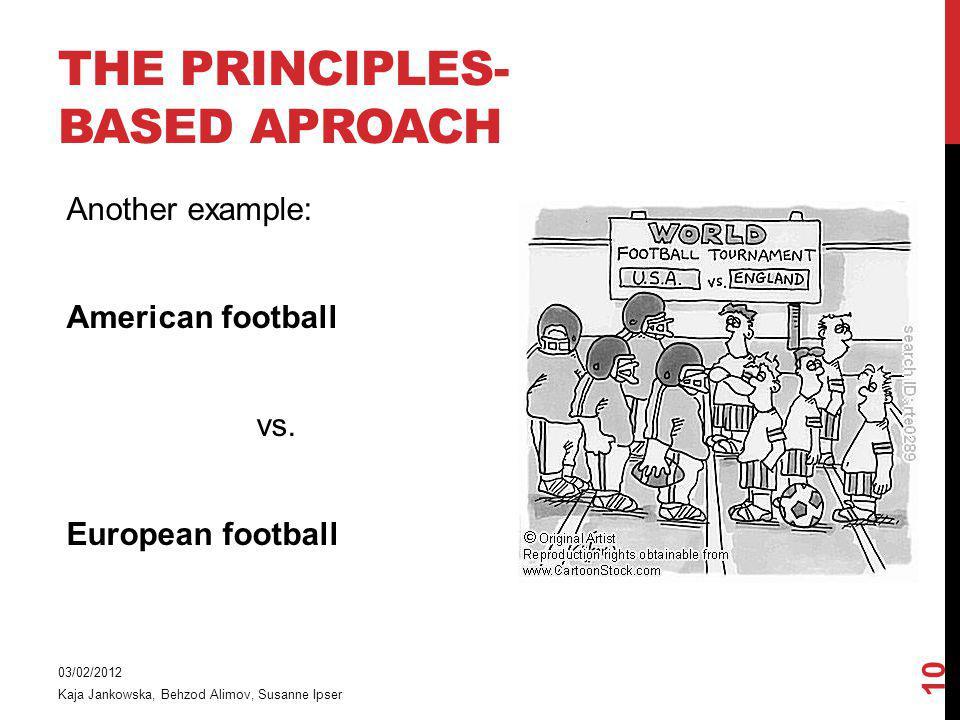 THE PRINCIPLES- BASED APROACH Another example: American football vs. European football 03/02/2012 Kaja Jankowska, Behzod Alimov, Susanne Ipser 10