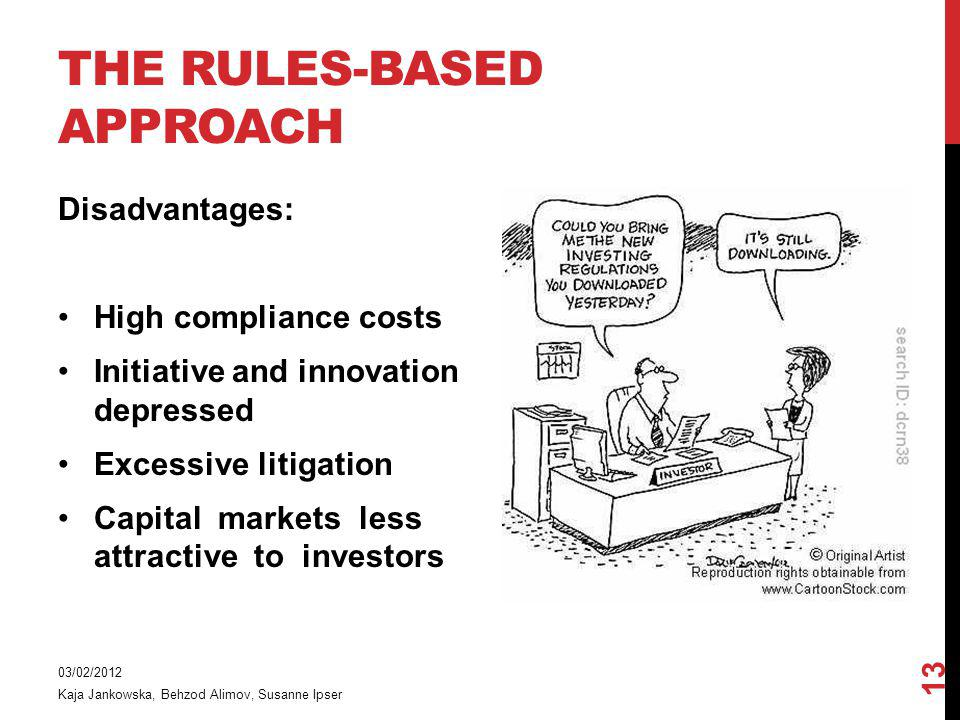 THE RULES-BASED APPROACH Disadvantages: High compliance costs Initiative and innovation depressed Excessive litigation Capital markets less attractive to investors 03/02/2012 Kaja Jankowska, Behzod Alimov, Susanne Ipser 13