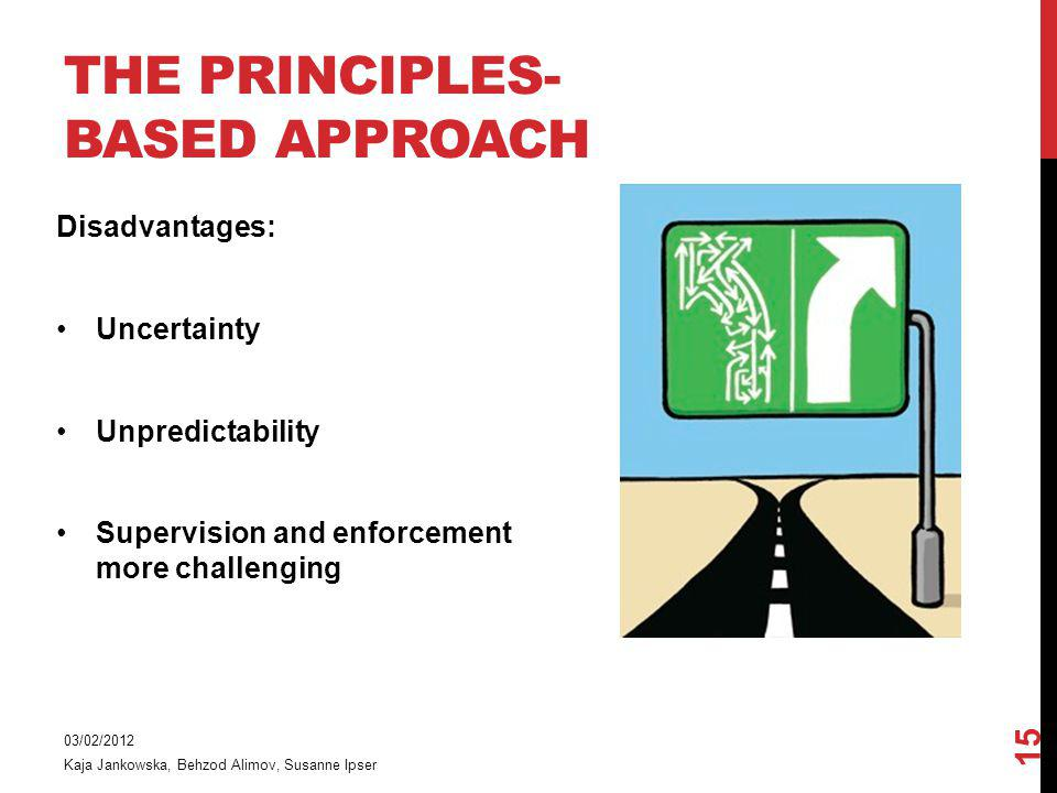 THE PRINCIPLES- BASED APPROACH 03/02/2012 Kaja Jankowska, Behzod Alimov, Susanne Ipser 15 Disadvantages: Uncertainty Unpredictability Supervision and enforcement more challenging