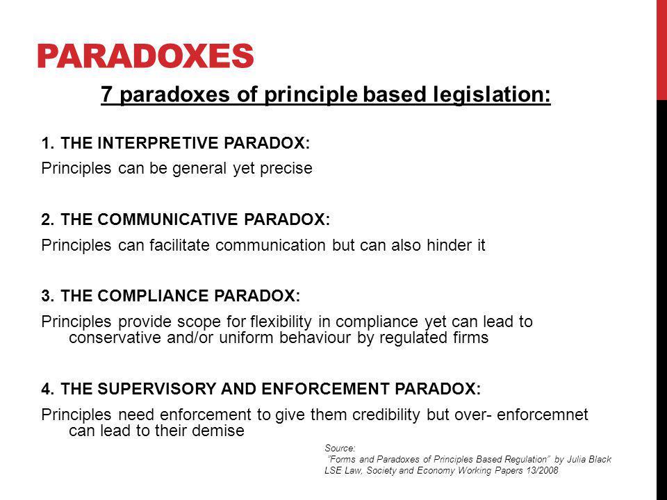 PARADOXES 7 paradoxes of principle based legislation: 1. THE INTERPRETIVE PARADOX: Principles can be general yet precise 2. THE COMMUNICATIVE PARADOX: