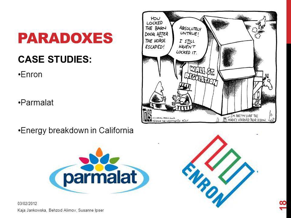 PARADOXES CASE STUDIES: Enron Parmalat Energy breakdown in California 03/02/2012 Kaja Jankowska, Behzod Alimov, Susanne Ipser 18