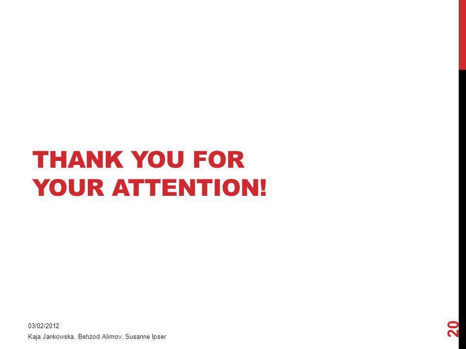 THANK YOU FOR YOUR ATTENTION! 03/02/2012 Kaja Jankowska, Behzod Alimov, Susanne Ipser 20