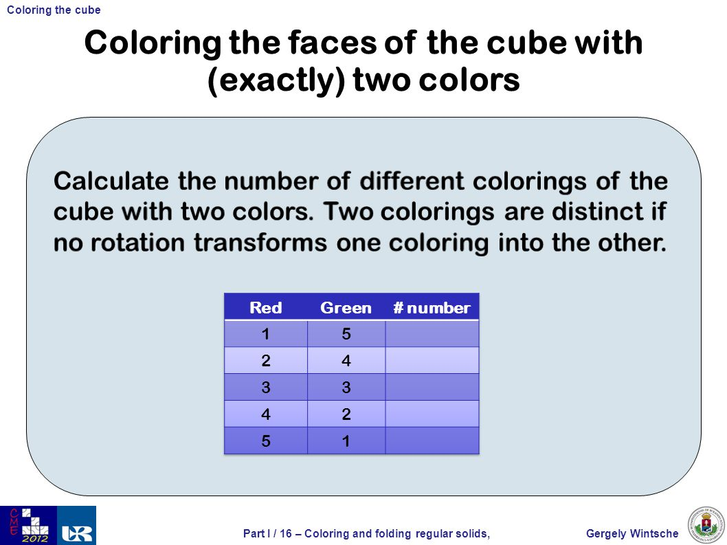 Gergely WintschePart I / 16 – Coloring and folding regular solids, Coloring the cube Coloring the faces of the cube with (exactly) two colors