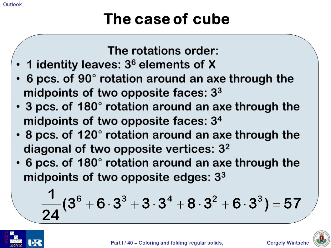 Gergely WintschePart I / 40 – Coloring and folding regular solids, Outlook The case of cube