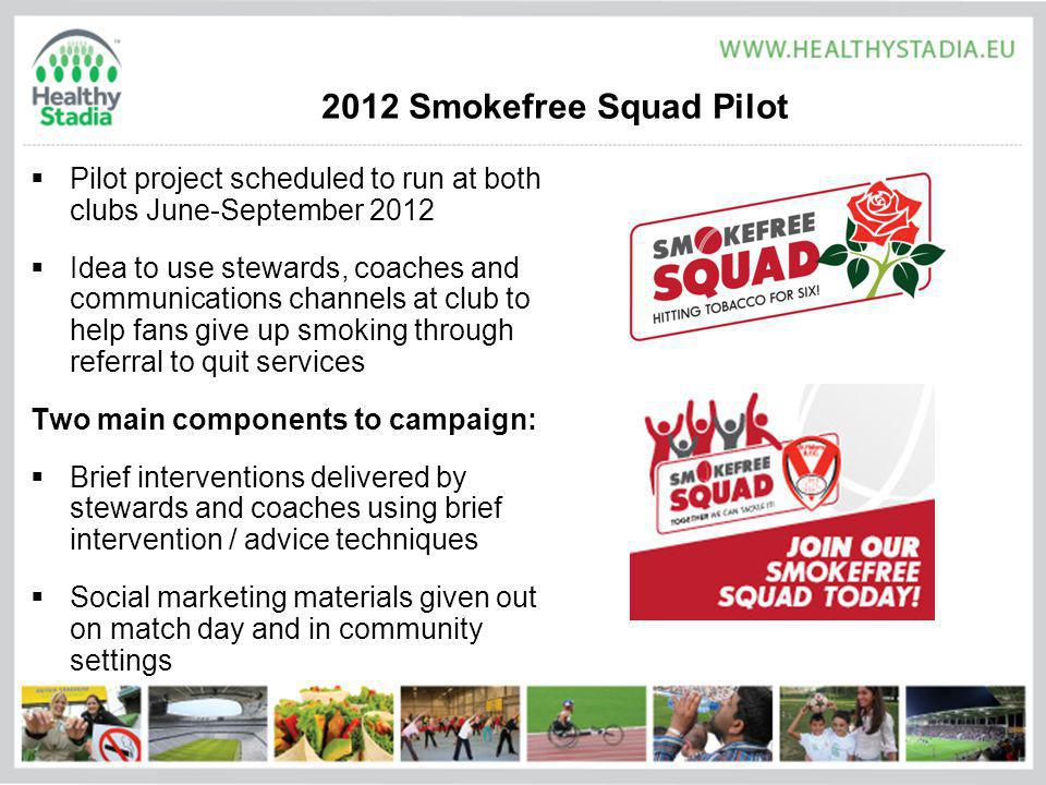 2012 Smokefree Squad Pilot Pilot project scheduled to run at both clubs June-September 2012 Idea to use stewards, coaches and communications channels at club to help fans give up smoking through referral to quit services Two main components to campaign: Brief interventions delivered by stewards and coaches using brief intervention / advice techniques Social marketing materials given out on match day and in community settings