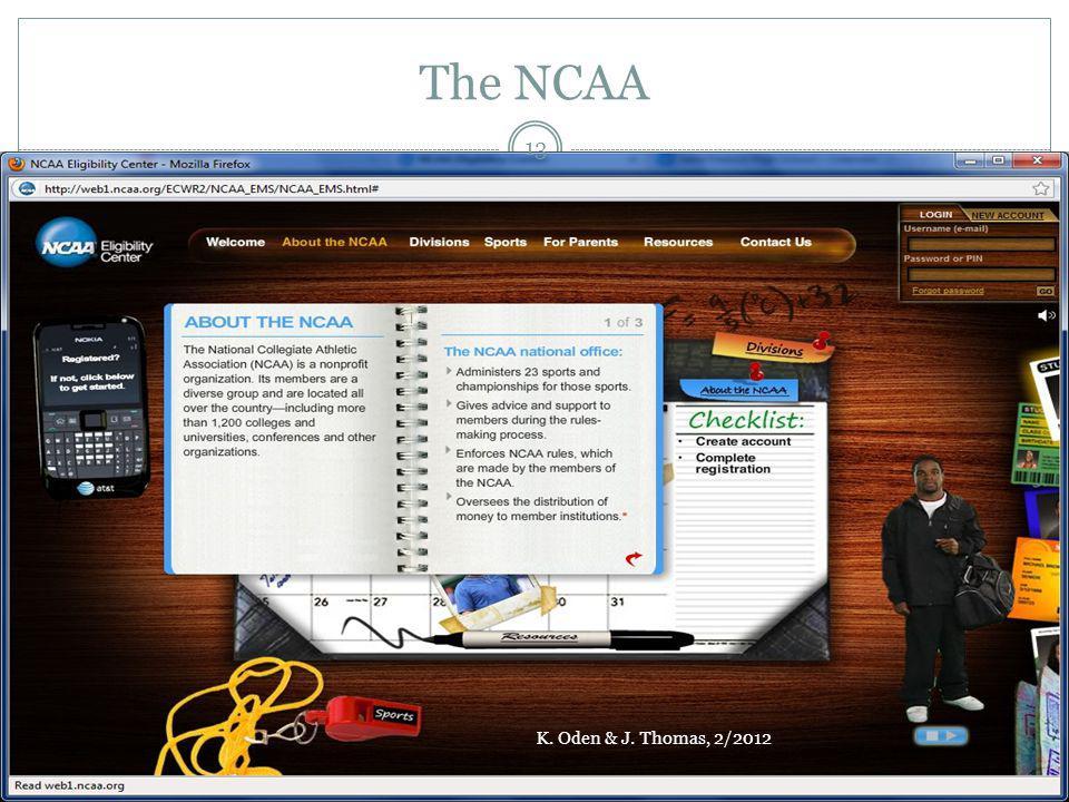 The NCAA K. Oden & J. Thomas, 2/2012 13