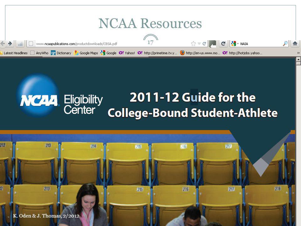 NCAA Resources K. Oden & J. Thomas, 2/2012 17
