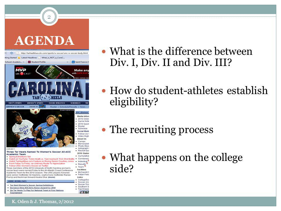 AGENDA What is the difference between Div. I, Div. II and Div. III? How do student-athletes establish eligibility? The recruiting process What happens