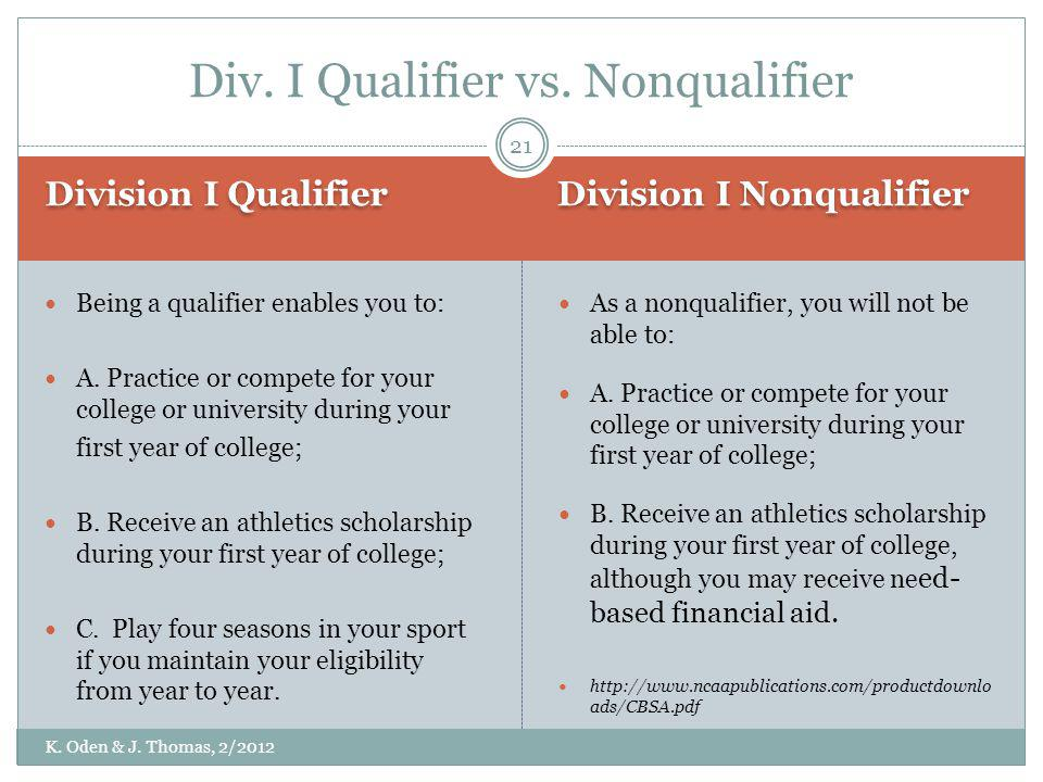 Division I Qualifier Division I Nonqualifier Being a qualifier enables you to: A. Practice or compete for your college or university during your first