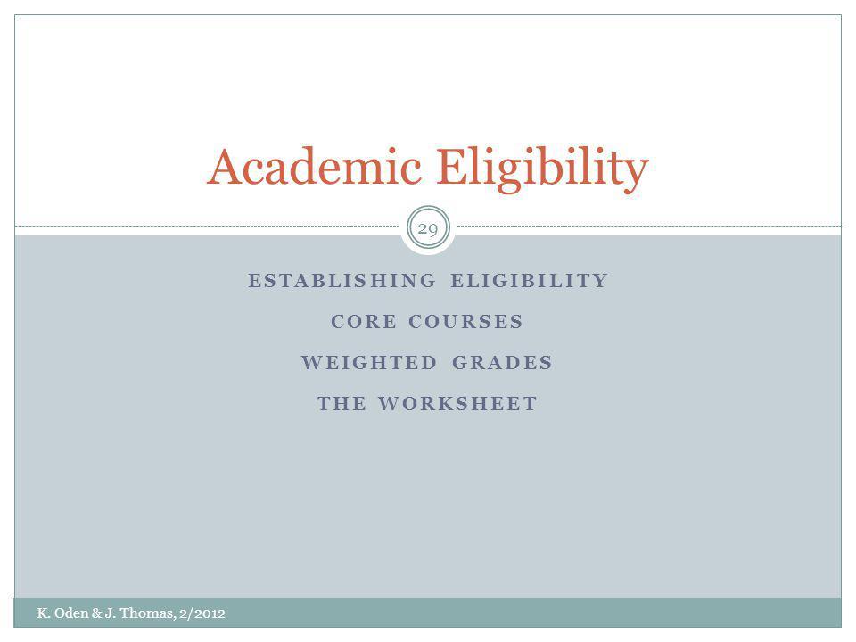 ESTABLISHING ELIGIBILITY CORE COURSES WEIGHTED GRADES THE WORKSHEET Academic Eligibility K. Oden & J. Thomas, 2/2012 29