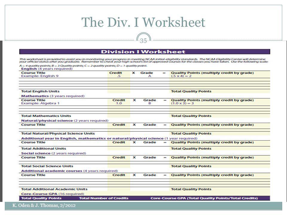 The Div. I Worksheet K. Oden & J. Thomas, 2/2012 35
