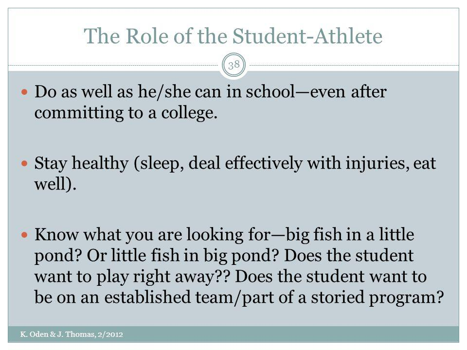 The Role of the Student-Athlete Do as well as he/she can in schooleven after committing to a college. Stay healthy (sleep, deal effectively with injur