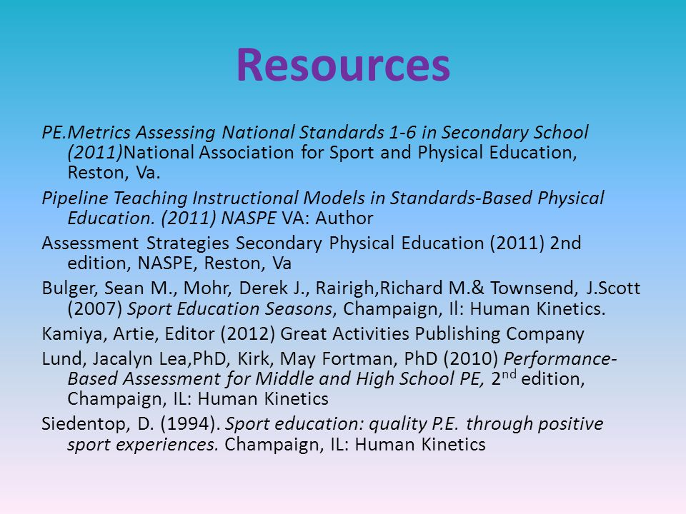 Resources PE.Metrics Assessing National Standards 1-6 in Secondary School (2011)National Association for Sport and Physical Education, Reston, Va.