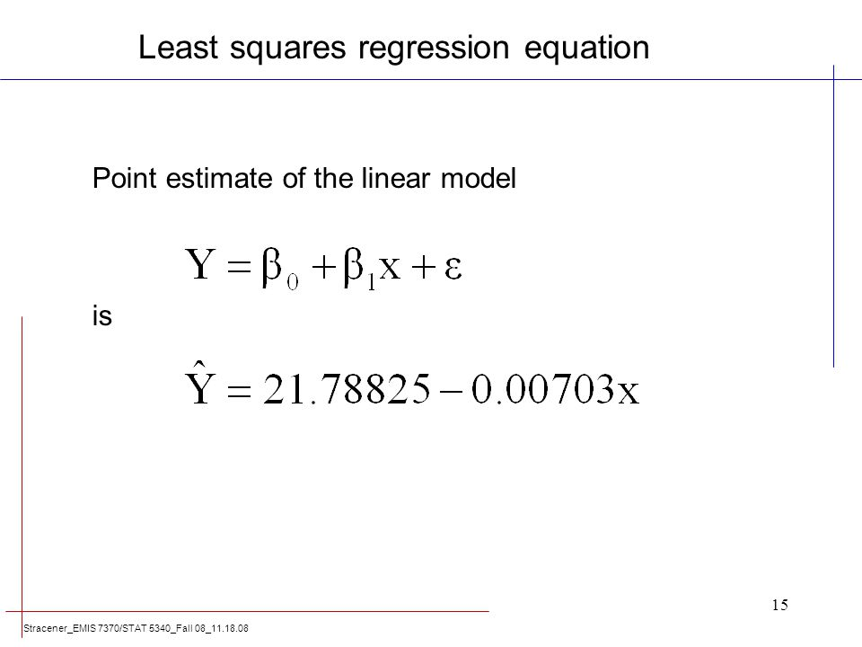 Stracener_EMIS 7370/STAT 5340_Fall 08_11.18.08 15 Point estimate of the linear model is Least squares regression equation