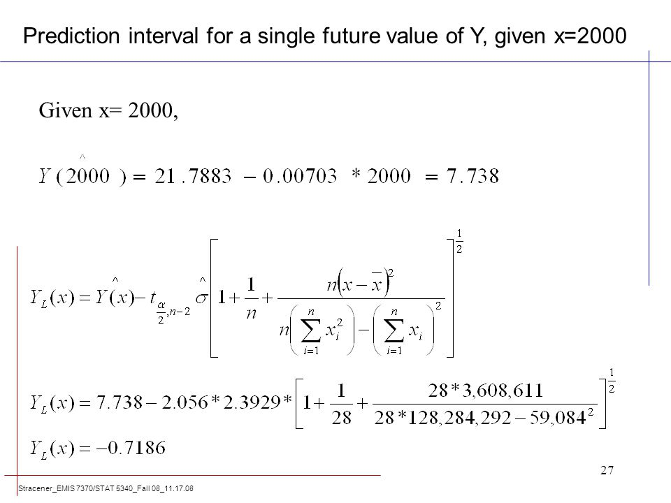 Stracener_EMIS 7370/STAT 5340_Fall 08_11.17.08 27 Given x= 2000, Prediction interval for a single future value of Y, given x=2000