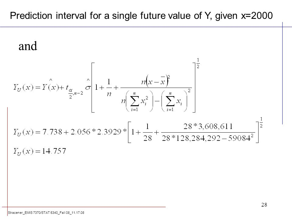 Stracener_EMIS 7370/STAT 5340_Fall 08_11.17.08 28 and Prediction interval for a single future value of Y, given x=2000