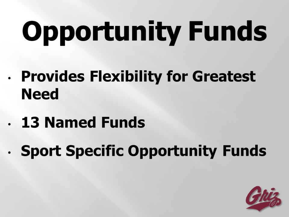 Provides Flexibility for Greatest Need 13 Named Funds Sport Specific Opportunity Funds
