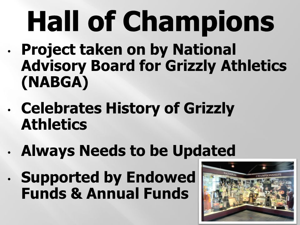 Project taken on by National Advisory Board for Grizzly Athletics (NABGA) Celebrates History of Grizzly Athletics Always Needs to be Updated Supported by Endowed Funds & Annual Funds