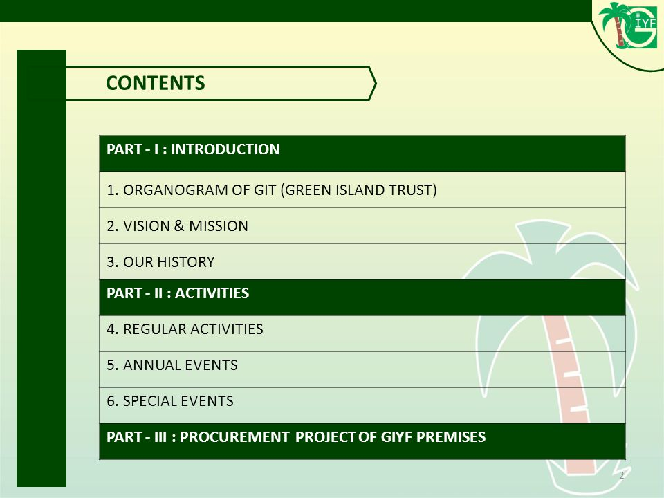 2 CONTENTS PART - I : INTRODUCTION 1. ORGANOGRAM OF GIT (GREEN ISLAND TRUST) 2.