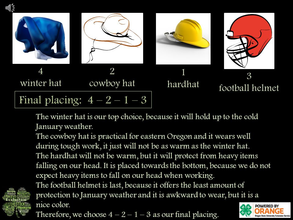 2 cowboy hat 4 winter hat 1 hardhat 3 football helmet