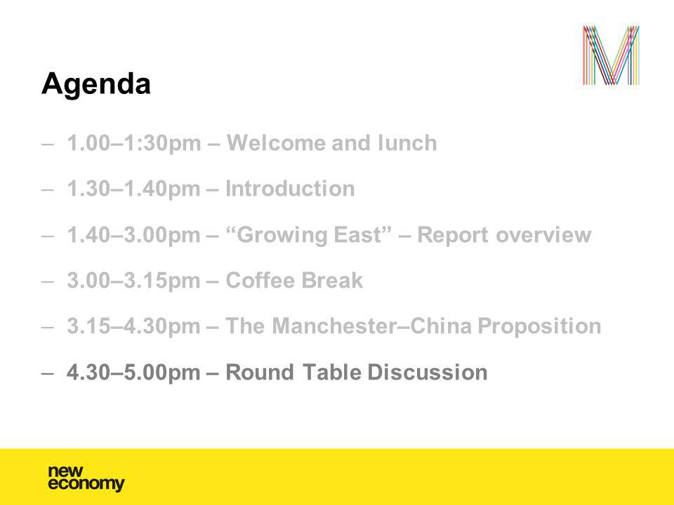 Agenda –1.00–1:30pm – Welcome and lunch –1.30–1.40pm – Introduction –1.40–3.00pm – Growing East – Report overview –3.00–3.15pm – Coffee Break –3.15–4.