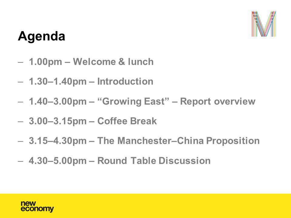 Agenda –1.00pm – Welcome & lunch –1.30–1.40pm – Introduction –1.40–3.00pm – Growing East – Report overview –3.00–3.15pm – Coffee Break –3.15–4.30pm –