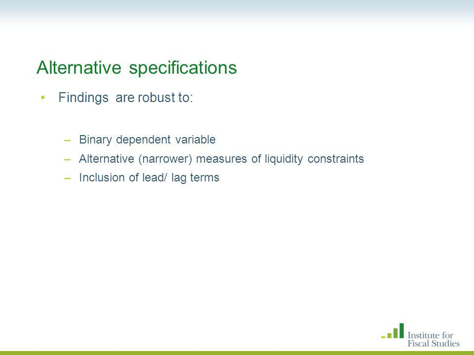 Alternative specifications Findings are robust to: –Binary dependent variable –Alternative (narrower) measures of liquidity constraints –Inclusion of lead/ lag terms