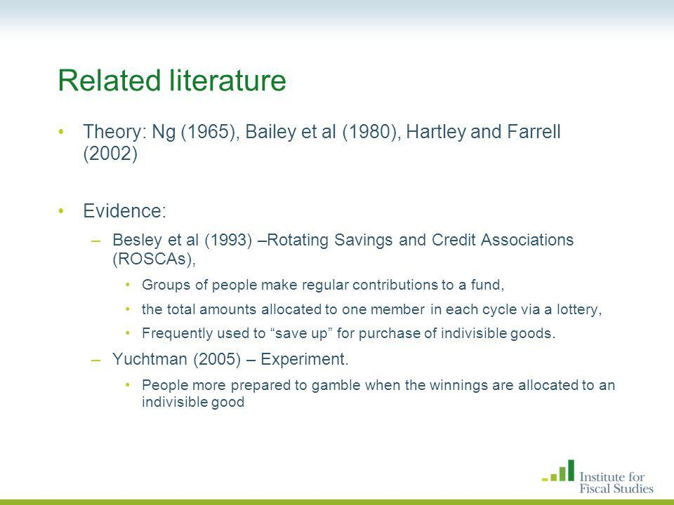 Related literature Theory: Ng (1965), Bailey et al (1980), Hartley and Farrell (2002) Evidence: –Besley et al (1993) –Rotating Savings and Credit Associations (ROSCAs), Groups of people make regular contributions to a fund, the total amounts allocated to one member in each cycle via a lottery, Frequently used to save up for purchase of indivisible goods.