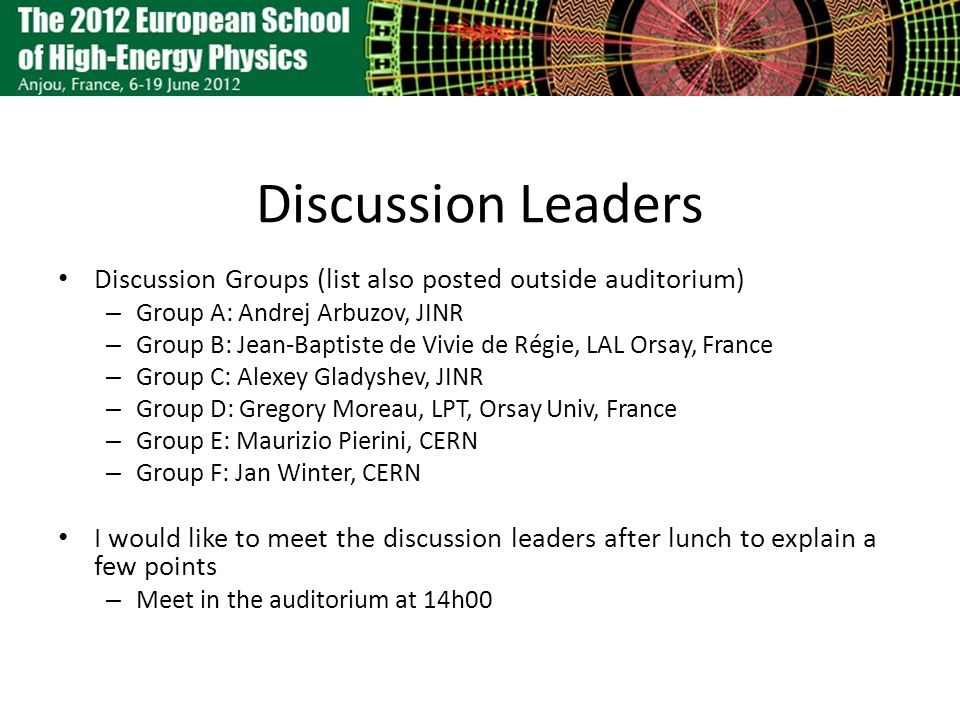 Discussion Leaders Discussion Groups (list also posted outside auditorium) – Group A: Andrej Arbuzov, JINR – Group B: Jean-Baptiste de Vivie de Régie, LAL Orsay, France – Group C: Alexey Gladyshev, JINR – Group D: Gregory Moreau, LPT, Orsay Univ, France – Group E: Maurizio Pierini, CERN – Group F: Jan Winter, CERN I would like to meet the discussion leaders after lunch to explain a few points – Meet in the auditorium at 14h00