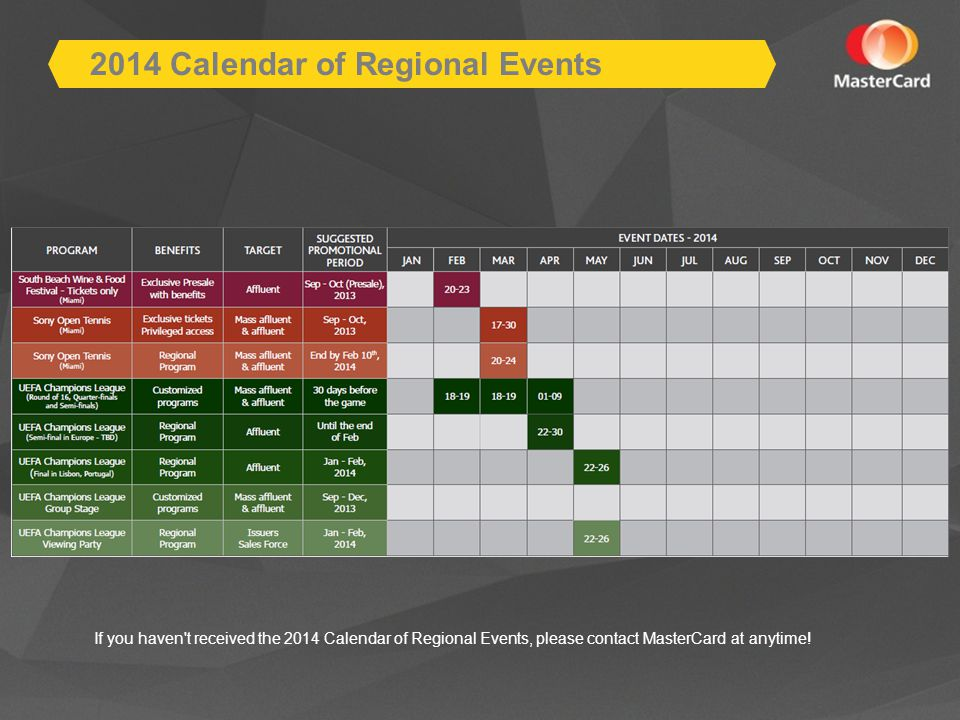 If you haven t received the 2014 Calendar of Regional Events, please contact MasterCard at anytime.