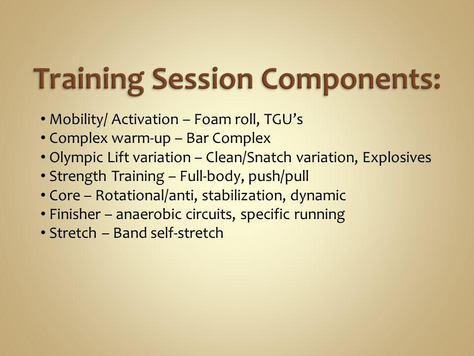 Mobility/ Activation – Foam roll, TGUs Complex warm-up – Bar Complex Olympic Lift variation – Clean/Snatch variation, Explosives Strength Training – F