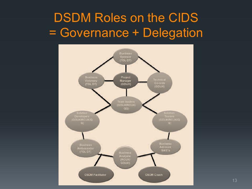 DSDM Roles on the CIDS = Governance + Delegation 13