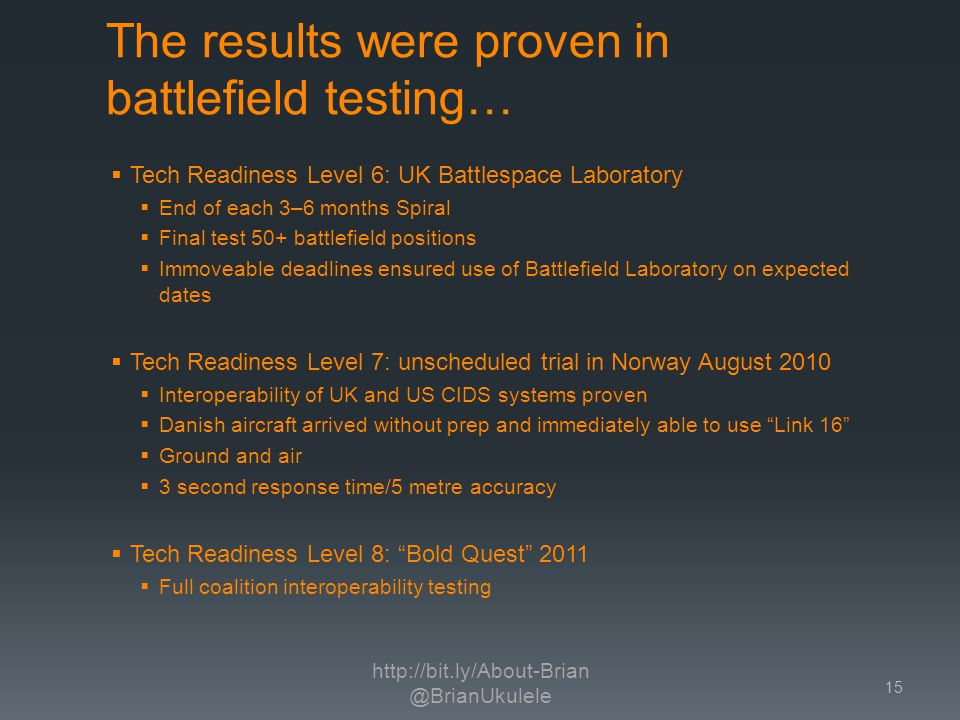 The results were proven in battlefield testing… Tech Readiness Level 6: UK Battlespace Laboratory End of each 3–6 months Spiral Final test 50+ battlefield positions Immoveable deadlines ensured use of Battlefield Laboratory on expected dates Tech Readiness Level 7: unscheduled trial in Norway August 2010 Interoperability of UK and US CIDS systems proven Danish aircraft arrived without prep and immediately able to use Link 16 Ground and air 3 second response time/5 metre accuracy Tech Readiness Level 8: Bold Quest 2011 Full coalition interoperability testing http://bit.ly/About-Brian @BrianUkulele 15