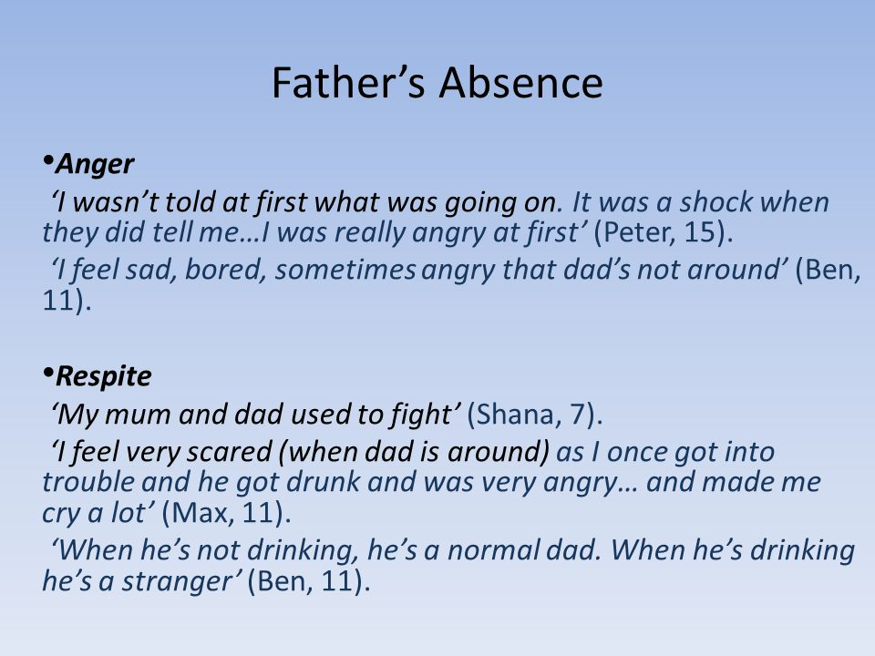 Fathers Absence Anger I wasnt told at first what was going on.