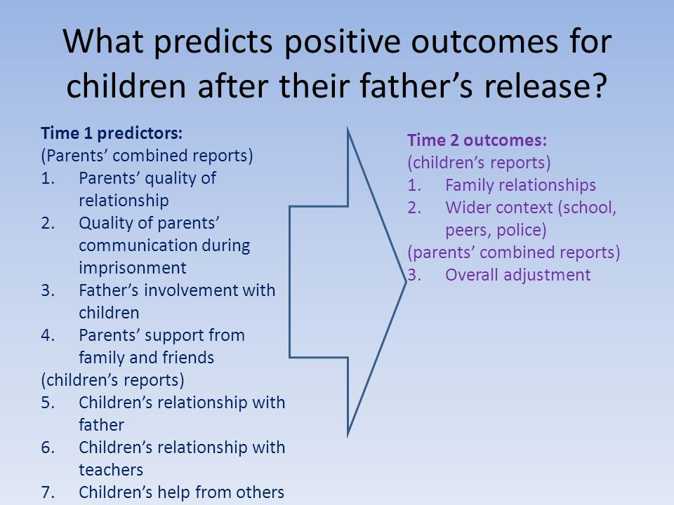 What predicts positive outcomes for children after their fathers release.