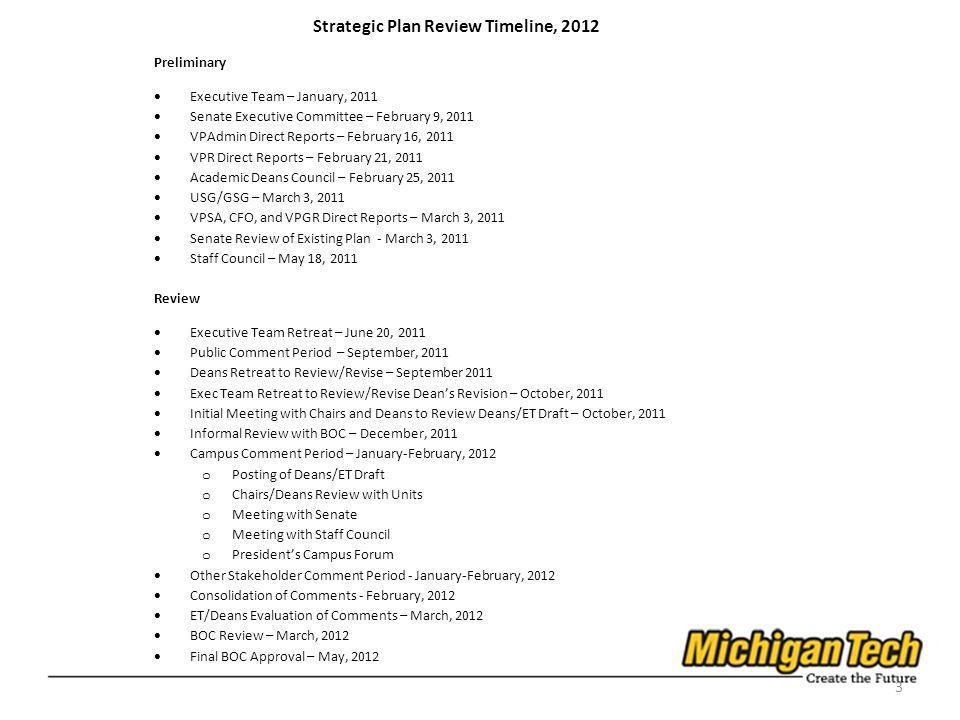 3 Strategic Plan Review Timeline, 2012 Preliminary Executive Team – January, 2011 Senate Executive Committee – February 9, 2011 VPAdmin Direct Reports