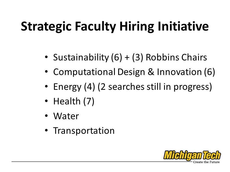 Strategic Faculty Hiring Initiative Sustainability (6) + (3) Robbins Chairs Computational Design & Innovation (6) Energy (4) (2 searches still in prog