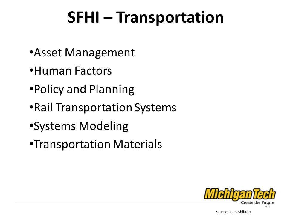 SFHI – Transportation Asset Management Human Factors Policy and Planning Rail Transportation Systems Systems Modeling Transportation Materials 34 Source: Tess Ahlborn