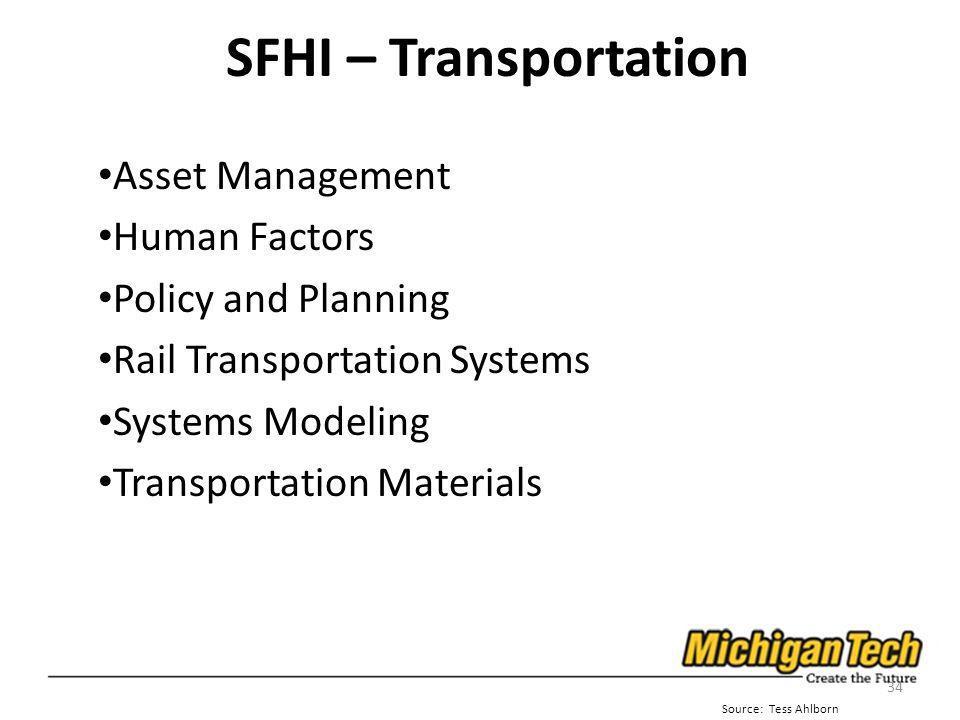 SFHI – Transportation Asset Management Human Factors Policy and Planning Rail Transportation Systems Systems Modeling Transportation Materials 34 Sour