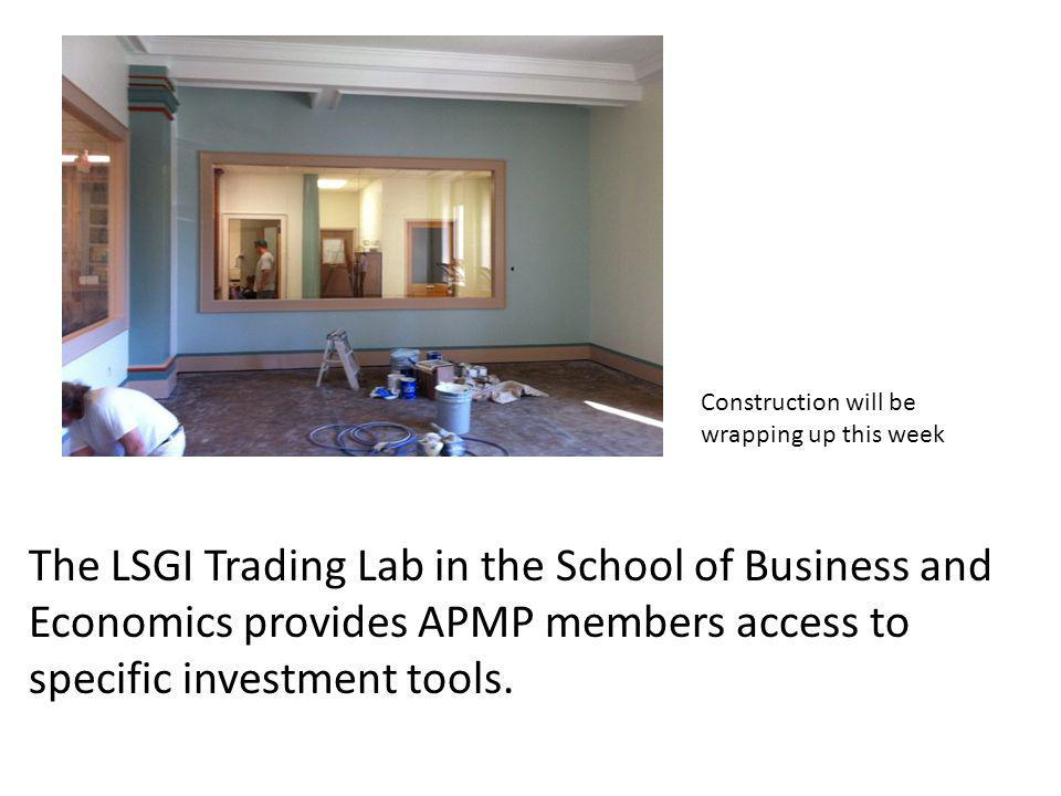 The LSGI Trading Lab in the School of Business and Economics provides APMP members access to specific investment tools.