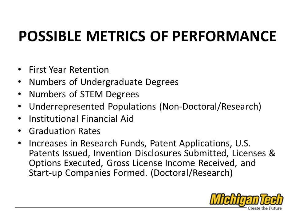 POSSIBLE METRICS OF PERFORMANCE First Year Retention Numbers of Undergraduate Degrees Numbers of STEM Degrees Underrepresented Populations (Non-Doctor