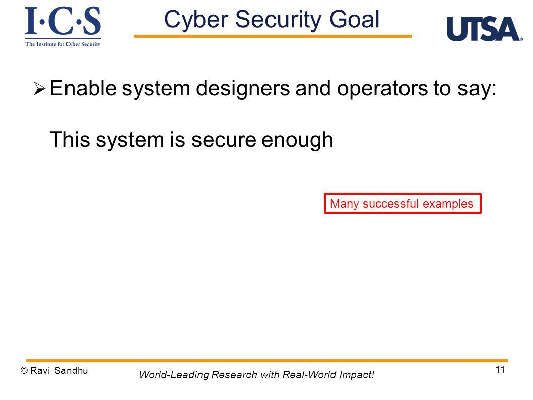 Enable system designers and operators to say: This system is secure enough © Ravi Sandhu 11 World-Leading Research with Real-World Impact.