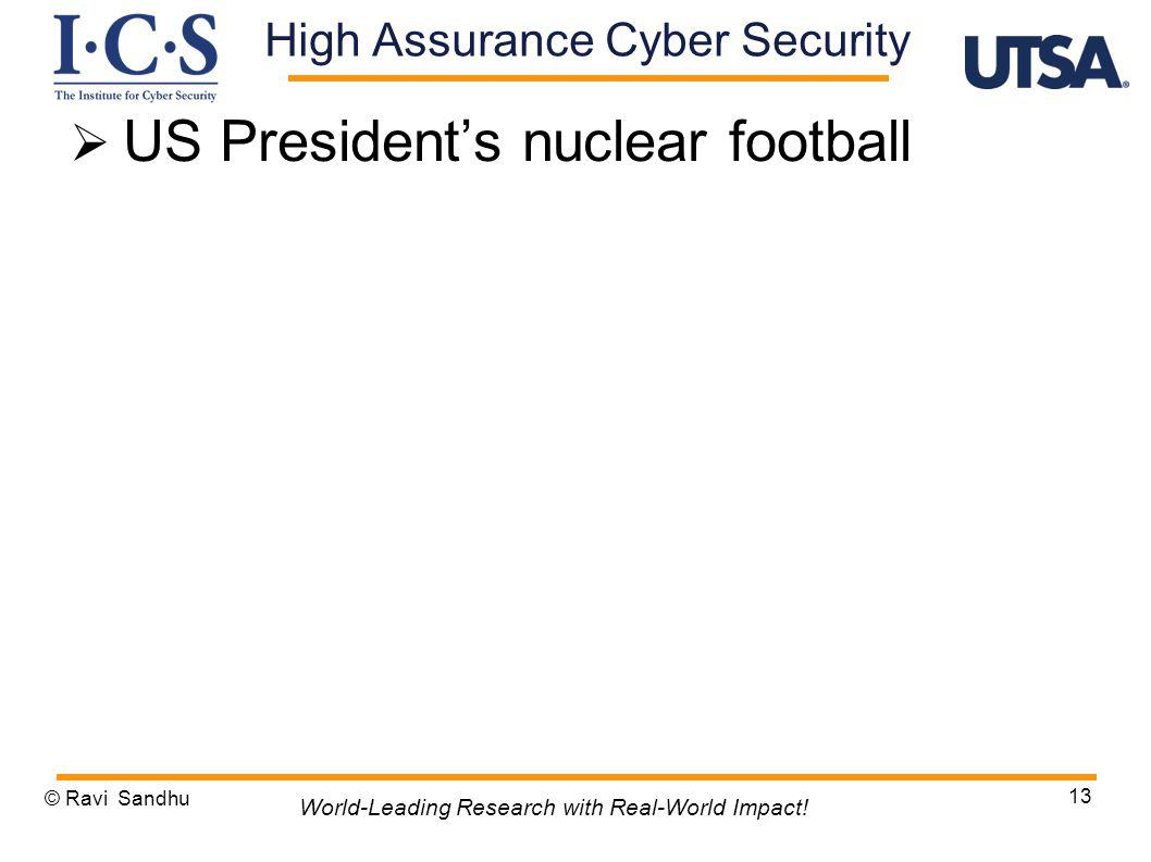 US Presidents nuclear football © Ravi Sandhu 13 World-Leading Research with Real-World Impact! High Assurance Cyber Security