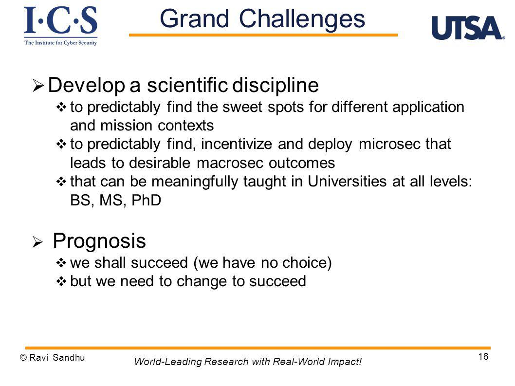 Develop a scientific discipline to predictably find the sweet spots for different application and mission contexts to predictably find, incentivize and deploy microsec that leads to desirable macrosec outcomes that can be meaningfully taught in Universities at all levels: BS, MS, PhD Prognosis we shall succeed (we have no choice) but we need to change to succeed © Ravi Sandhu 16 World-Leading Research with Real-World Impact.