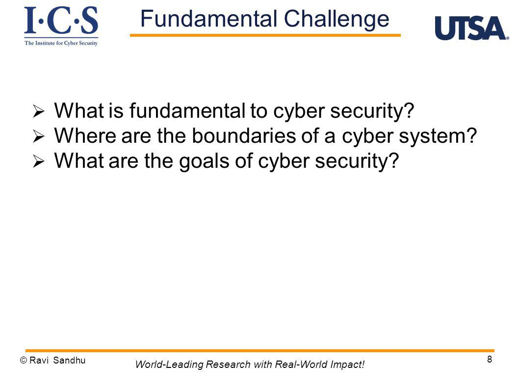 What is fundamental to cyber security? Where are the boundaries of a cyber system? What are the goals of cyber security? © Ravi Sandhu 8 World-Leading